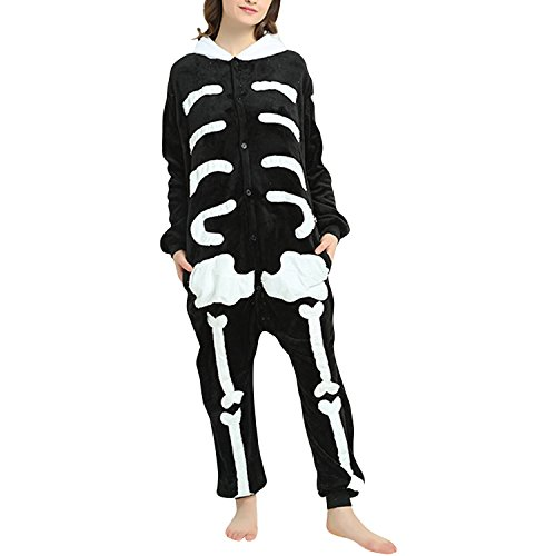 Petalum Unisex Adult Pyjama Jumpsuit Halloween Karneval Tierkostüm Damen Herren Fleece Skelett Overall Süß Onesie Schlafanzug Nachtwäsche