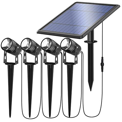 Solarstrahler Solar Gartenleuchte 4 Stück mit Erdspieß Solarleuchte aus Metall Gartenstrahler IP66 wasserdichte schwenkbar Strahler 3000K Warmweiß…