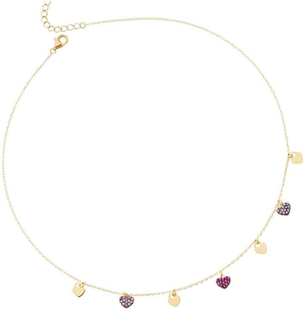 Boccadamo,cllana per donna,  in argento 925 placcata oro giallo con pendenti a forma di cuore, con zirconi Ggr001D