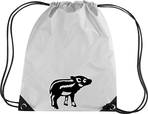Camiseta stown Premium gymsac Animales cerdo, Sau, pegamento, Piglet, jabalí, Frischling, plata