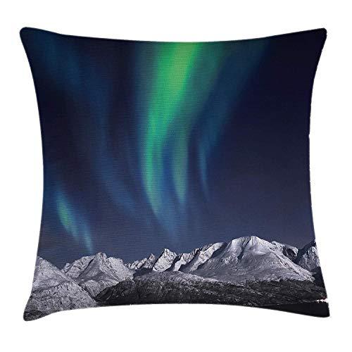 Sky Decor Kussen kussensloop, Northern Lights Aurora Over Fjords Mountain at Night Noorwegen Solar Image Art, Decoratieve Vierkante Accent Kussensloop, 18 X 18 Inch, Groen Donker Blauw