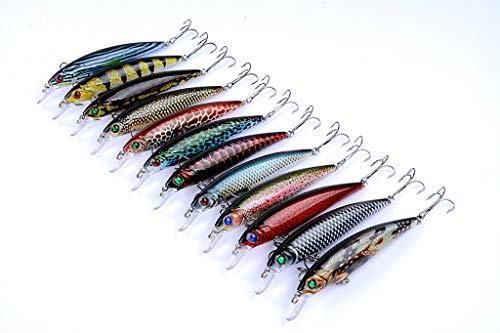 Señuelos de pesca DORISEA con anzuelo de pesca con anzuelo de agudos realistas, cebo de pesca 3D con ojos de popper Crankbait Vibe hundimiento para lubina, trucha Walleye Redfish … (LB106)