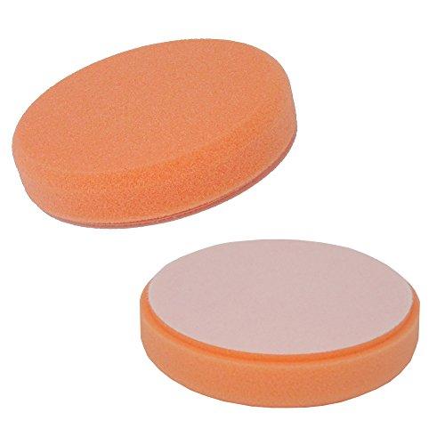 SBS Polierschwamm Premium Ø 150 x 30mm orange MEDIUM glatt mit Klettrücken