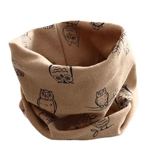Rameng Echarpe Tube Bébé Fille Garçon Écharpe à Boucle Coton Foulards Bandeau Bandana Collier Coton O Anneau (Kaki)