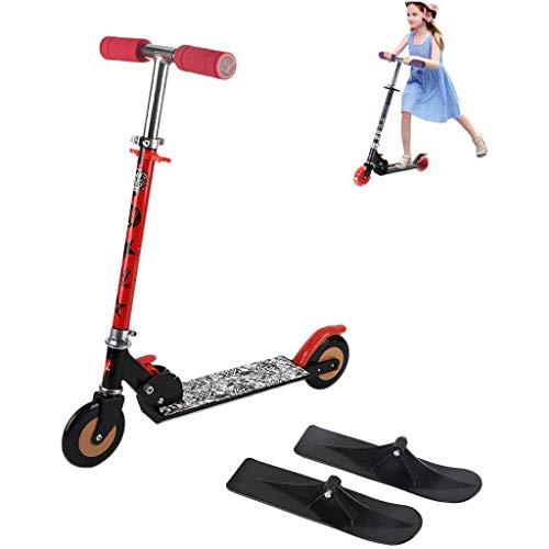 ZTGHS Scooter Pieghevole in Slitta 2 in 1, Maniglie Regolabili Scooter Scorrevole in Alluminio per Slittini per Bambini per Tutte Le età