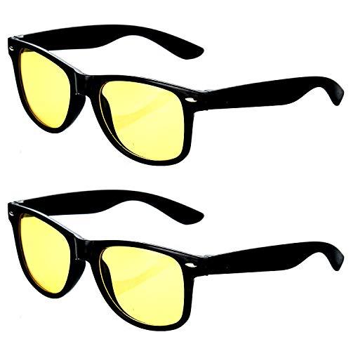 HAC24 2er Set Nachtfahrbrille im Retro-Look Nachtsichtbrille Nachtbrille Sonnenbrille Auto Motorrad Kontrast Brille