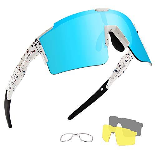 OULIQI Occhiali da Sole Ciclismo Polarizzati Sportivi per Uomo e Donna con 4 Lenti Colorati, Anti-UV 400 Uomini Donne Ciclismo Equitazione in Esecuzione Pesca Occhiali da per,Bici,Moto (Bianco / blu)