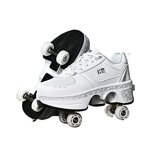 Mrzyzy Patines de Ruedas para Mujeres/niños, Zapatos con Ruedas para niñas, Zapatos de Cuatro Ruedas, Patines en línea 2 en 1 para niños, Zapatos de Skate para Deportes al Aire Libre
