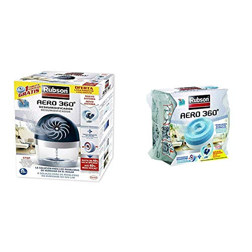 Rubson Aero 360 450 G deshumificador que limpia el aire, el olor y evita el moho + Rubson Recambios color azul