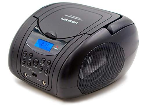 Lauson MX19 Boombox Lecteur CD Portable avec USB | Lecteur CD MP3 | Lecteur CD Portable | Tuner Radio FM | Casque CD Boombox USB, AUX-in, Réseau & Batterie (Noir)
