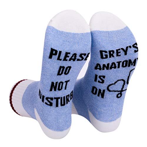 MYhose Calcetines de algodón novedosos para Mujer, Divertidos no diurnos, calcetería con Letras, Calcetines de Regalo para fanáticos de TV, Azul Claro