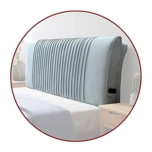 Descansar Leyendo Respaldo Reforzar El Cuello Cómodo Almohadilla Lumbar para Hotel Cabecera De Cama Canapé, 5 Tamaño Qiangda (Color : B-Blue, Size : 200x58x10cm)