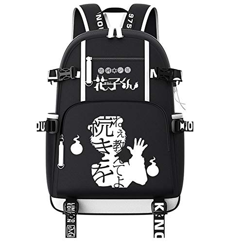 Anime Toilet-Bound Hanako-kun Mochila Unisex Backpack con USB Puerto de Carga Hombre y Mujer Bolsa Mochila
