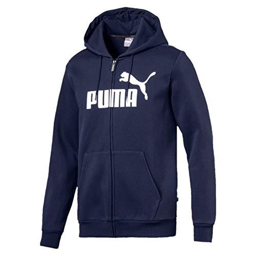 PUMA Ess FZ Hoody FL Big Logo, Felpa Uomo, Blu (Peacoat), M