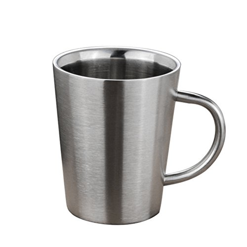 gaeruite Doppelwandiger Edelstahl Kaffeebecher, Thermobecher, 350 ML-Kupfer überzogene Kaffeetasse-Doppelschichten 304 Hochtemperatur-Widerstand-Milch-Tee-Becher (Silver)