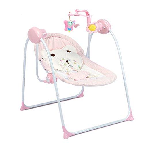 Guo Baby Bouncer Balance Faltbare Musik Shaker Kleinkind Rocker Weiche Schaukel Kindergarten Schaukelstuhl Wiege Bett (Farbe : Pink)