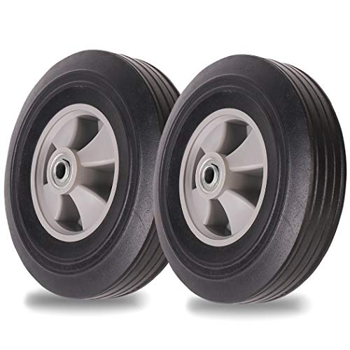 (2-Pack) AR-PRO 10''x2'' Flat Free Solid Rubber Replacement Tires (4.10/3.50-4