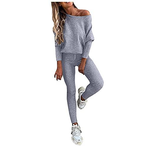 Conjunto Chándal para Mujer 2 Piezas sudadera y pantalones Deportivos Casuales Otoño Color Sólido Completo Suéter Traje Deportivo Conjunto Manga Larga Ropa Pijamas