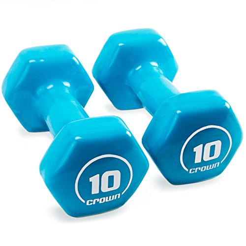 Crown Sporting Goods Brightbells Vinyl Hex Hand Weights, Spectrum Series I: Tropical - Colorful Coated Set of Non-Slip Dumbbell Free Weight Pairs - Home & Gym Equipment (10)