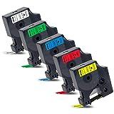5x Labelwell 12mm x 7m Sostituzione del Etichette Compatibile per Dymo D1 45013 45016 45017 45018 45019 per Dymo LabelManager 120P 160 210D 360D 420P 500TS Labelpoint 250 150 350 Labelwriter 450 Duo