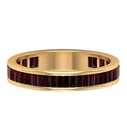 Rosec Jewels 10 quilates oro amarillo baguette Red Garnet