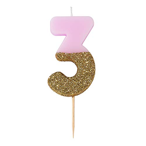 Pink Number 3 Three Birthday Candle with Gold Glitter | Premium Quality Cake Topper Decoration | Pretty, Sparkly For Kids, Adults, 30th Birthday Party, Anniversary, Milestone Age