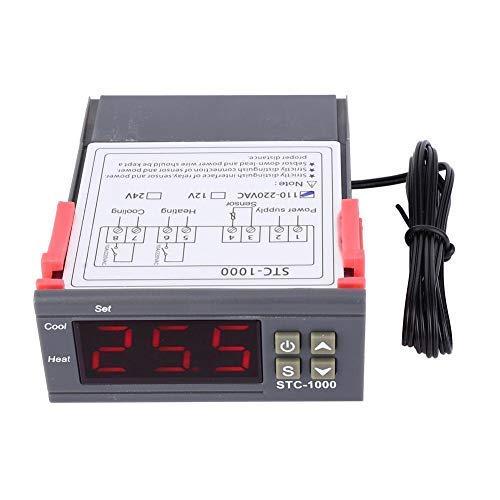 BJLWTQ STC-1000 Temperatura Digital Controlador de temperatura, Digital interruptor del sensor del termostato del mando de salida de relé doble termostato con NTC, 1 M Temperatura de control del termo