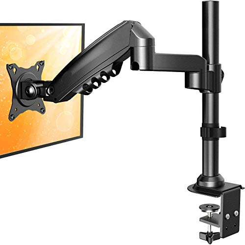 """ErGear 17""""-34"""" Single Monitor Desk Mount Stand Kit, Full Motion Gas Spring Arms with Clamp On/Grommet Mounting Base, Holds Computer Screen up to 19.84 lbs/Arm with 75/100mm VESA, Black"""