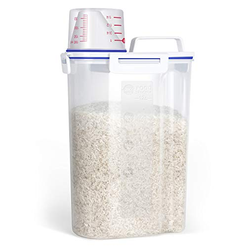 TBMax Small Rice Storage Container -5 Lbs Cereal Dispenser with Measuring Cup, Airtight Dry Food Container Bin for Pantry Storage Organization