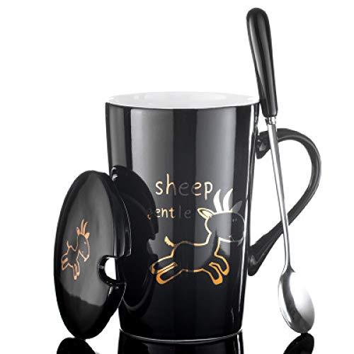 tasse fein becher kaffeetasse 12 tierzeichen optional kreativ schön keramik tasse paar trinkbecher cartoon becher löffel mit deckel milchkaffee persönlichkeit tasse h 420ml
