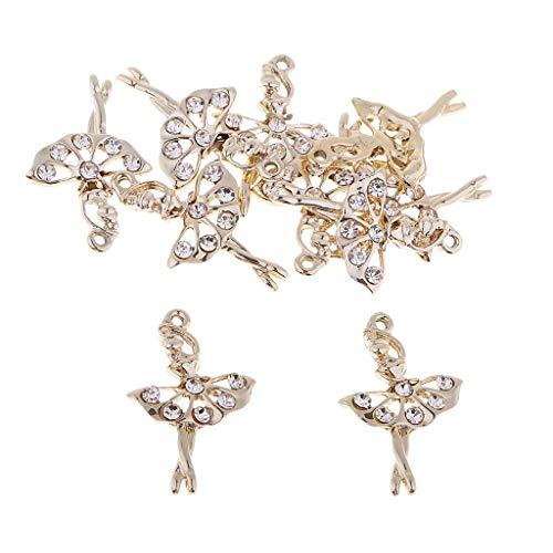 Inzopo 10 Stück Kristall Statement Charms Gold Tanzen Ballett Mädchen Fee Engel für Halskette Kette Anhänger Mode Diamantschmuck Herstellung Haarschmuck Knöpfe