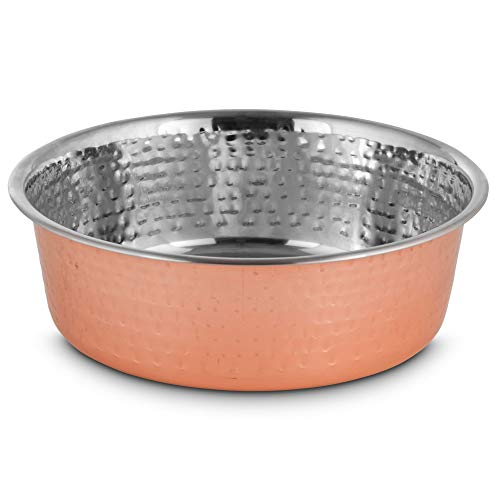Harmony Copper-Plated and Hammered Stainless-Steel Dog Bowl, 8 Cups, Large