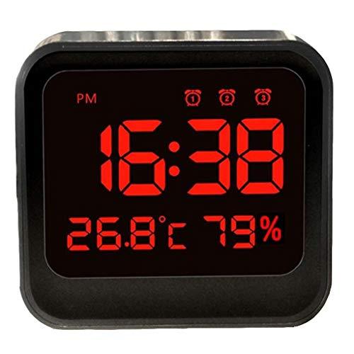 HGVVNM Despertador alimentado por batería, reloj despertador de viaje pequeño con termómetro interior e higrómetro digital, potente reloj despertador dual for dormitorios, cabecera, escritorio, adoles
