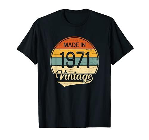 Regalo Hombre Mujer Cumpleaños 50 Años Vintage Made in 1971 Camiseta