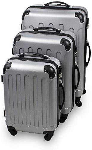 Todeco - Juego de Maletas, Equipajes de Viaje - Material: Plástico ABS - Tipo de Ruedas: 4 Ruedas de rotación de 360 ° - 51 61 71 cm, Plateado, Esquinas protegidas, ABS
