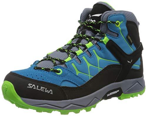 Salewa JR Alp Trainer Mid Gore-TEX, Scarponi da trekking e da escursionismo Unisex Bambini, Blu (Danube/Fluo Green), 26 EU