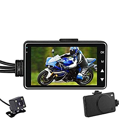 """SPRIS CHEZAI 280°Wide Angle Motorcycle Dash Cam, HD Motorbike Camera with 1080P+720P Front and Rear Dash Cams, Recording Camera with 3.0"""" LCD Display by SPRIS"""