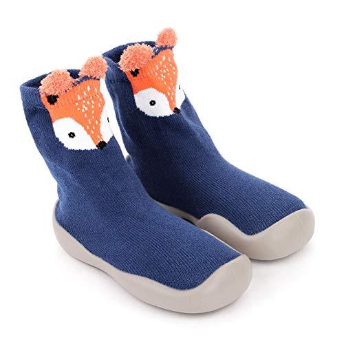 Zapatillas de calcetín para bebé con suela de goma antideslizante para bebé o niña, transpirable gruesa, interior y exterior de invierno