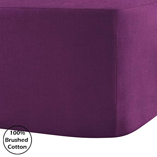 Divine Textiles 100% Brushed Cotton Flannelette 40CM/16 Extra Deep Fitted Sheets in 14 Colours, Double - Purple