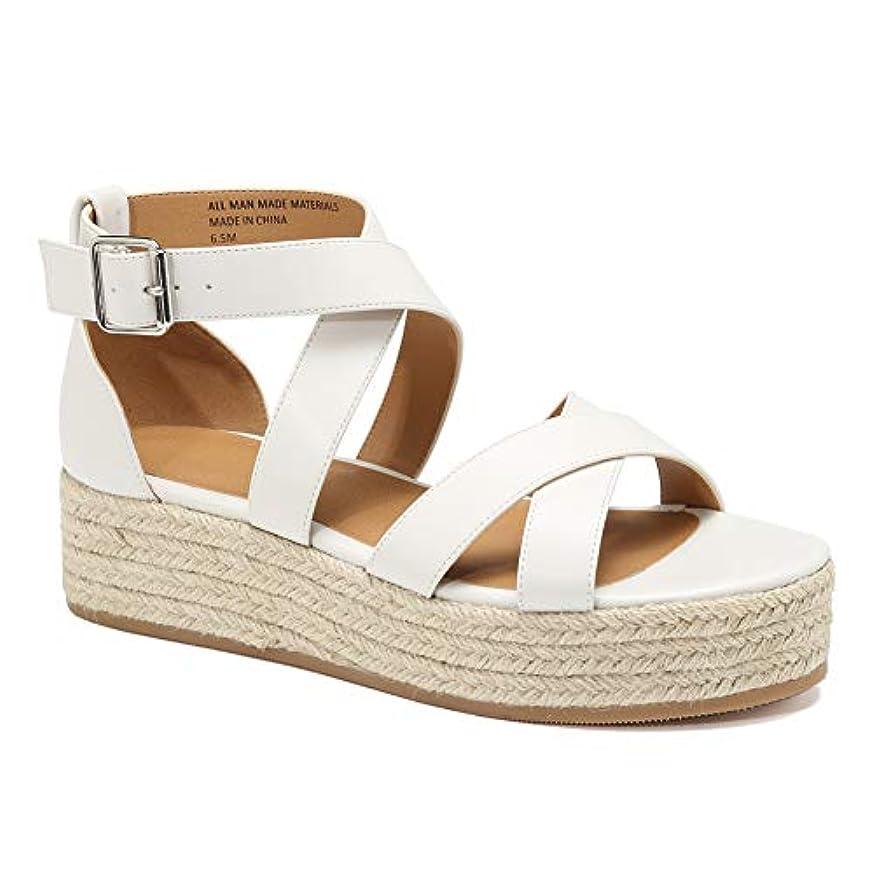 VANDIMI Espadrilles Wedges for Women Platform Slides Sandals Summer Strappy Leather Cross Slip on Shoes Open Toe Slippers