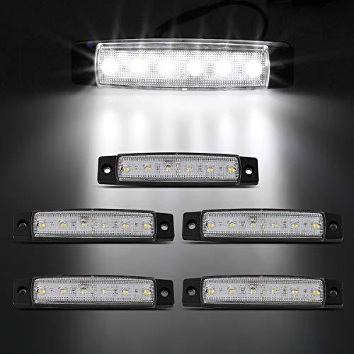 Partsam 5 Pcs 3.8 6 LED White Side Marker Lights, Rear Side Marker Lamp, Led Marker Lights for Trucks, Cab Marker, RV Marker Light, Marine Led Utility Strip Light for Boats 12 Volts