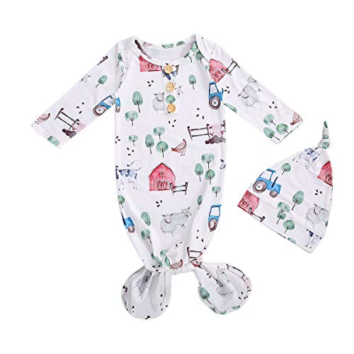 Newborn Infant Baby Girl Boy Gowns Sleeping Bag Pajamas Coming Home Outfits Swaddle Blanket Cotton Nightgown Sleepwear (E-Floral Pajamas Farm  0-3 Months)