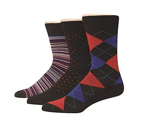 Hanes Men's 3-Pack Dress Casual Crew Flat Knit Socks, Black/Red Argyle, Sock Size: 10-13 (Shoe Size: 6-12)