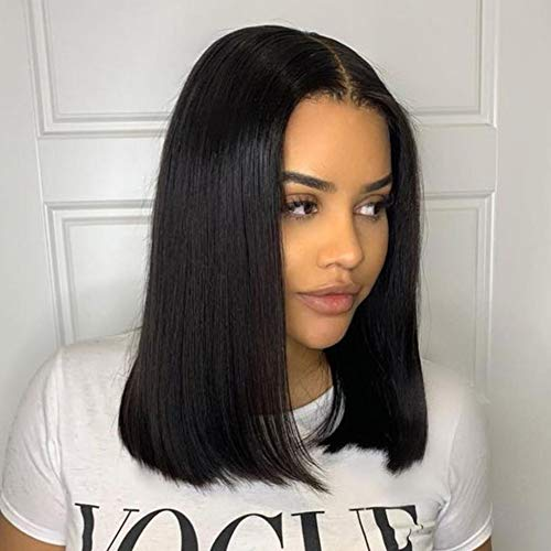 4x4 14 Inch Lace Front Wigs Human Hair Bob Straight Lace Closure Wig Middle Part 150% Density Natural Color Human Hair Lace Front Wigs