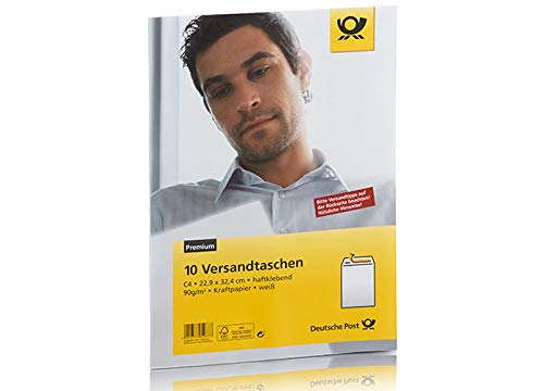 Deutsche Post 10 Versandtaschen C4 weiß haftklebend ohne Fenster