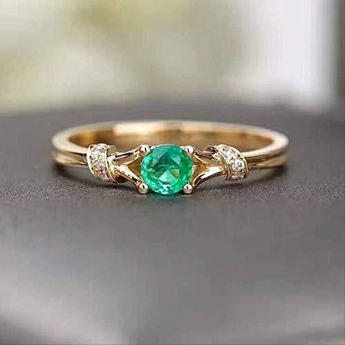 IWINO ingelegd groene zirkoon stenen ring trouwring verlovingsring Prachtige dunne vinger ring rose gouden kerstcadeau