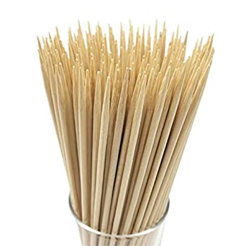 HOPELF 10  Natural Bamboo Skewers for BBQ,Appetiser,Fruit,Cocktail,Kabob,Chocolate Fountain,Grilling,Barbecue,Kitchen,Crafting and Party Φ=4mm More Size Choices 6 /8 /12 /14 /16 /30  100 PCS
