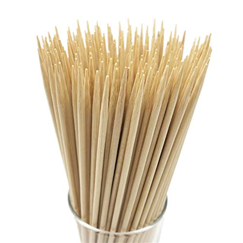 "HOPELF 6"" Natural Bamboo Skewers for BBQ,Appetiser,Fruit,Cocktail,Kabob,Chocolate Fountain,Grilling,Barbecue,Kitchen,Crafting and Party. Φ=4mm, More Size Choices 8""/10""/12""/14""/16""/30""(100 PCS)"