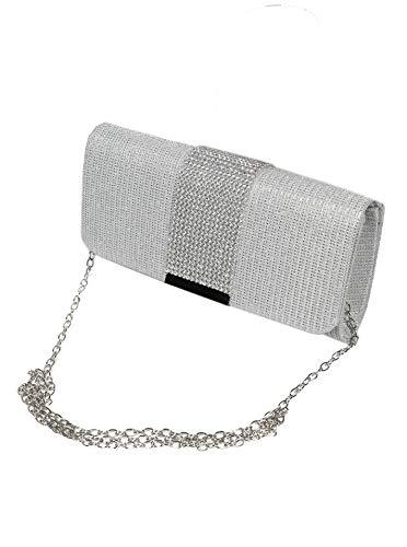 Zwillingsherz Abendtasche - modische Clutch Handtasche für Damen und Mädchen - besetzt mit farbenfrohen Strasssteinen- elegante Kettentasche Umhängetasche - 20,5 cm x 5,5 cm x 10,5cm