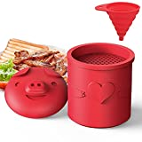 LOIVFET Bacon Grease Container with Strainer, Cute Cartoon Silicone Grease Pig Can Separator Pig Grease for Cooking, Bacon Gifts for Bacon Lovers, That Can Decorate the Kitchen